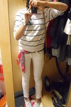 white H&M sweater - white Evisu jeans - red unknown scarf - white Sechelles shoe