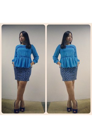sky blue Celine blouse - blue Zara skirt - blue Parisian heels