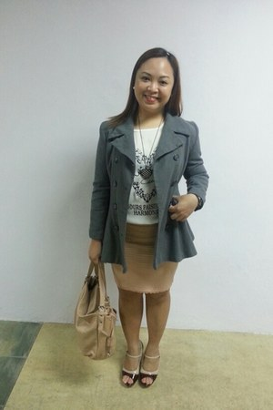 light pink sach bag - charcoal gray New Yorker coat - peach Voir heels