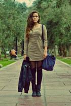 gray shoes - beige Forever 21 dress - black axx jacket - blue Tommy Hilfiger bag