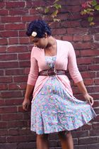 blue Goodwill dress - pink JCrew sweater - brown A&E belt
