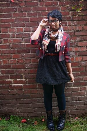 black thrifted dress - red Forever 21 jacket - beige gift scarf - black gift boo