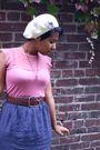 Pink-thrifted-blouse-blue-thrifted-skirt-brown-thrifted-shoes-white-urban-
