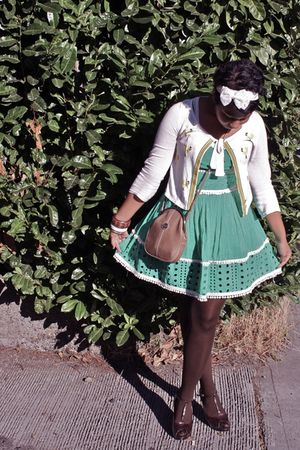 green Forever 21 dress - white Anthropologie sweater - brown Steve Madden shoes