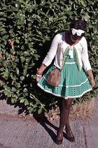 green Forever 21 dress - white Anthropologie sweater - brown Steve Madden shoes