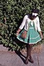 Green-forever-21-dress-white-anthropologie-sweater-brown-steve-madden-shoes-