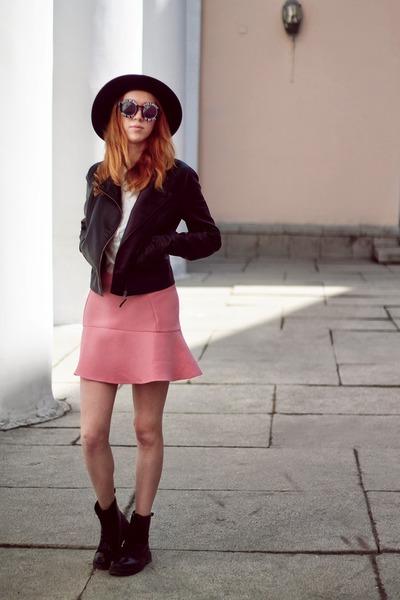 Zara skirt - Motivi boots - H&M hat - leather Sisley jacket