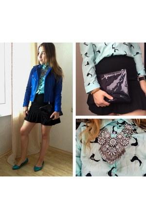 black clutch Nelly bag - blue faux leather Zara jacket
