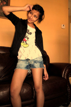 white shirt - black Dollhouse jacket - blue abercrombie and fitch shorts - blue