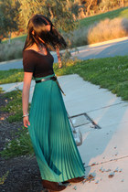 teal maxi skirt thrifted vintage skirt - black Zara boots