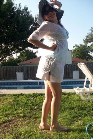 white dress - blue hat - black sunglasses - blue swimwear - black swimwear