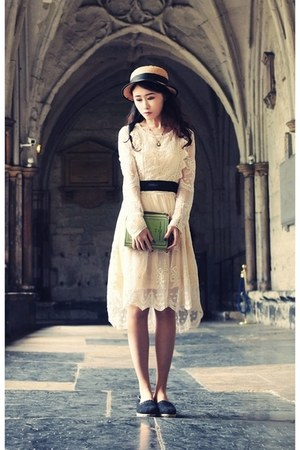 eggshell lace Chicwish dress - nude boater tnc hat