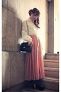 Black-quilted-uou-bag-coral-maxi-pleated-style-by-me-skirt