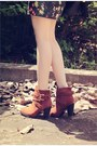 Burnt-orange-suede-queen-boots-dark-green-floral-print-emoda-dress