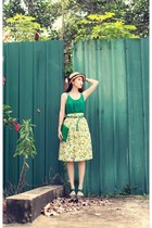 beige boater tnc hat - yellow lemon print Choies skirt