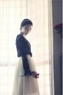 Black-crochet-lace-sheinside-blouse-ivory-tulle-midi-snidel-skirt