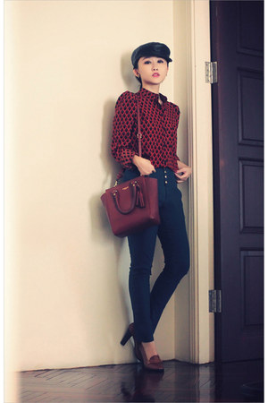 brick red geometric print romwe shirt - dark brown satchel 2-way coach bag