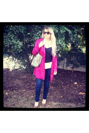 hot pink Foschini coat - blue Lucky Brand jeans - bubble gum Luella bag
