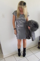 silver sequin dress- friendswithjenny dress - gray faux fur -foschini jacket - b