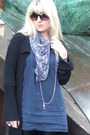 Black-34-cardigan-blue-34-shirt-gray-skull-scarf-scarf-black-faux-leather-
