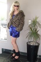 brown brown faux fur coat - blue satin jumpsuit - black black open toe boot heel