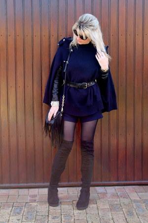 cape - the fix boots - jacket - Shopbop bag - Forever 21 shorts