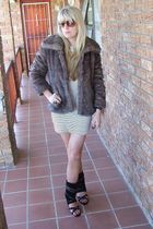 brown Faux fur coat - white dress - black shoes
