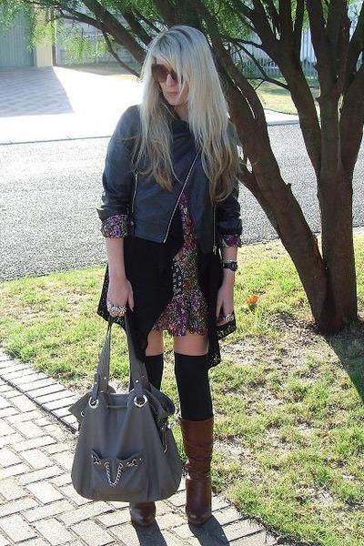 black www jacket - black www cardigan - purple www dress - black socks - brown F
