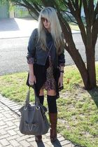 black www jacket - black www cardigan - purple www dress - black socks - brown F