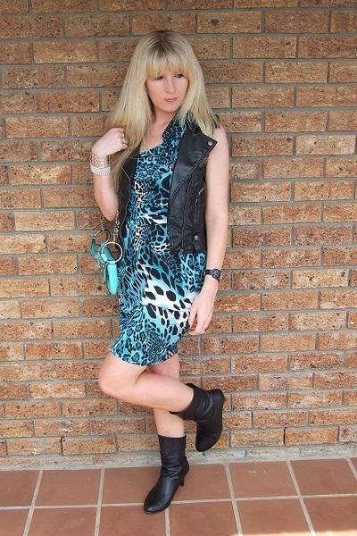 faux leather- jjs vest - blue off the shoulder leopard print dress- Foschini dre