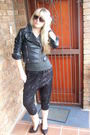 Black-faux-leather-biker-foschini-jacket-gray-cowl-neck-random-boutique-top-