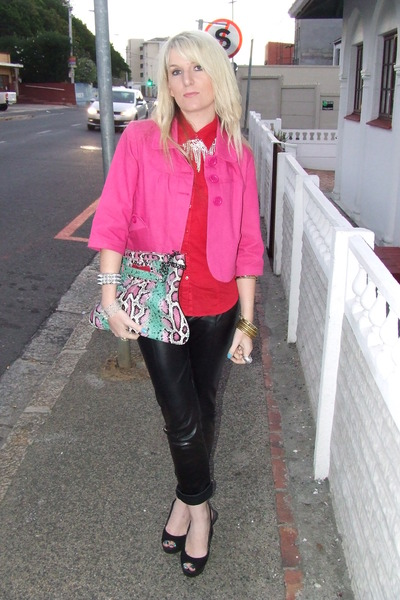 Pink Jackets Red Shirts Bags Open Toe Heels Faux Leather Pants