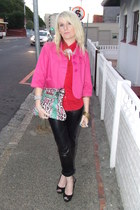 pink jacket - red shirt - bag - open toe heels - faux leather pants