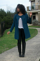 turquoise blue light wool Zara coat