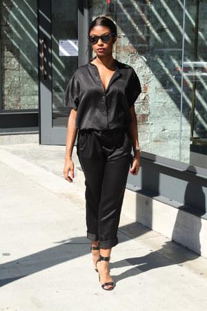 black satin thrifted vintage jumper - black Steve Madden heels