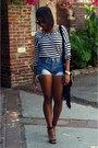 Blue-denim-diy-cutoffs-shorts-black-steve-madden-heels
