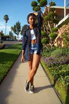 navy flannel shirt - gray canvas Vans shoes - navy denim DIY shorts