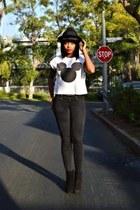denim Armani Exchange jeans - suede Nine West boots - Forever 21 hat