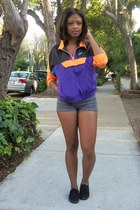 purple nike jacket - black Keds shoes - gray American Apparel shorts