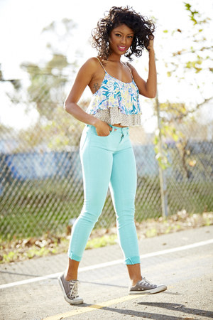sky blue J Brand jeans - white Urban Outfitters top - gray Converse sneakers