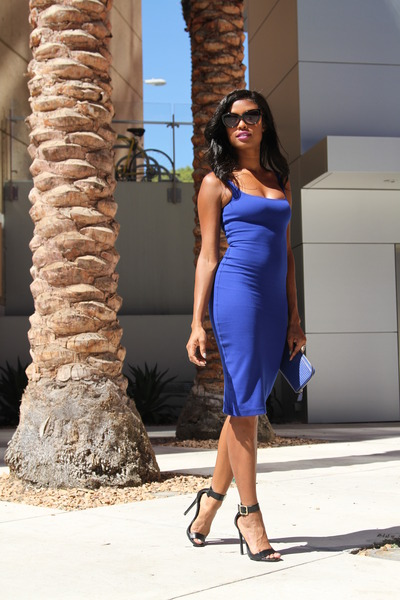 blue American Apparel dress - black Steve Madden heels