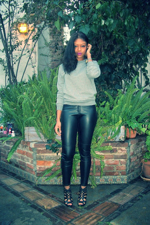 black leather hm pants - heather gray American Apparel sweater