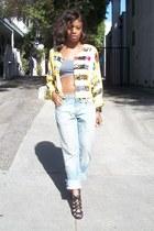 yellow Cache jacket - blue denim Levi jeans - gray full tilt top
