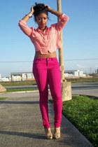 hot pink denim Forever 21 jeans - hot pink cotton Forever 21 shirt