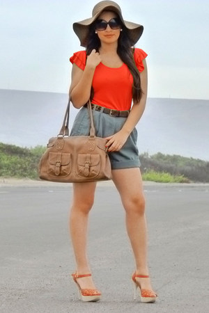 coral alaniz hat - salmon Bottero shoes - army green DressBarn shorts