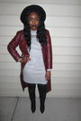 Maroon-jacket-black-boots-heather-gray-dress