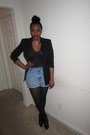 Black-blazer-periwinkle-shorts-ruby-red-accessories