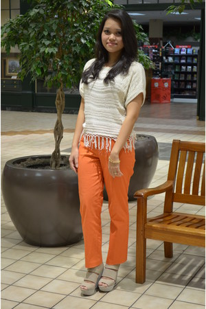 carrot orange ankle straight Worthington pants
