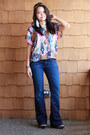 Flare-trouser-gap-jeans-tribal-print-american-rag-shirt-gifted-accessories