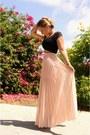 Black-bebe-top-peach-bebe-skirt-black-zara-heels